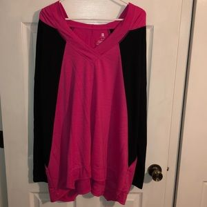 Tops - Pink and black light & soft long sleeve with hood